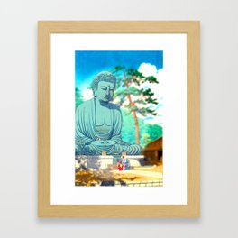 Family and Buddha-Kamakura Framed Art Print