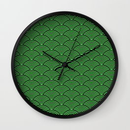 Japanese Waves (Black & Green Pattern) Wall Clock