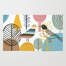 Two Kissing Birds in the Woods Rug