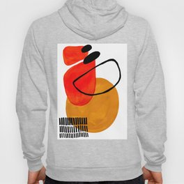 Mid Century Modern Abstract Vintage Pop Art Space Age Pattern Orange Yellow Black Orbit Accent Hoody