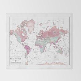 World Map Wall Art [Pink Hues] Throw Blanket