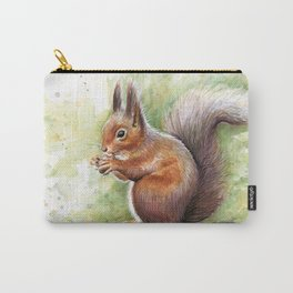 Squirrel Watercolor Painting Carry-All Pouch