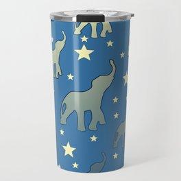 Blue Elephants Stars Pattern Travel Mug