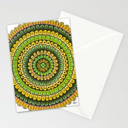 Lucky Shamrock Green and Gold Mandala Colored Pencil Illustration by Imaginarium Creative Studios Stationery Cards