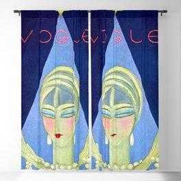 1927 Vintage Art Deco Flapper Young Woman Winter Magazine Cover by Eduardo Garcia Benito Blackout Curtain