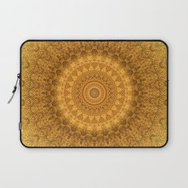 Sunflower Feather Bohemian Sun Ray Pattern \\ Aesthetic Vintage \\ Yellow Orange Color Scheme Laptop Sleeve