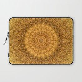 Sunflower Feather Bohemian Sun Ray Pattern \\ Aesthetic Vintage \\ Yellow Orange Color Scheme Laptop Sleeve