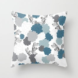 Royal Mum Blue & Gray Floral Throw Pillow