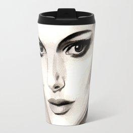 Vogue Magazine Cover. Natalie Portman. Fashion Illustration Travel Mug