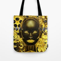 android Tote Bags featuring Android Clockwork by Magmata