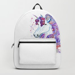Rainbow unicorn portrait Backpack