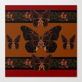 BLACK  MONARCH BUTTERFLIES,COFFEE BROWN-BURGUNDY ART Canvas Print