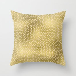 Merry christmas- white winter stars on gold pattern Throw Pillow
