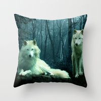 wolves Throw Pillows featuring Wolves by Julie Hoddinott