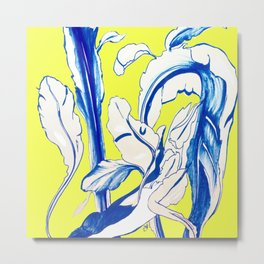 Plant in Blue Marker - Leaf of Life Miracle Leaf - Yellow Metal Print