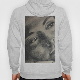 Coal portrait beautiful girl with sorrow sigth Hoody