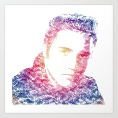 Elvis Presley Text Portrait (color gradient) Art Print
