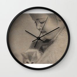 Girl Playing with Cat - in Charcoal Wall Clock