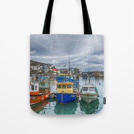 Boats in Mevagissey Harbour. Tote Bag