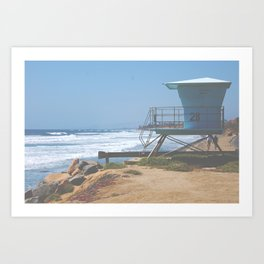 Lifeguard tower on the California Coast Highway Art Print