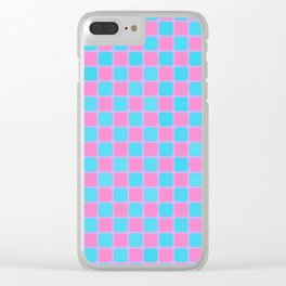 Checker Game:  Pink and Blue Clear iPhone Case