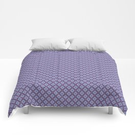 Abstract Geometric Shapes Diamond Square Grid Dark Purple, Light Purple, Blue and White Comforters