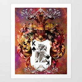 Poker King Spades colored Art Print