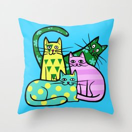 Color cats Throw Pillow