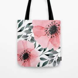 Big Watercolor Flowers Tote Bag