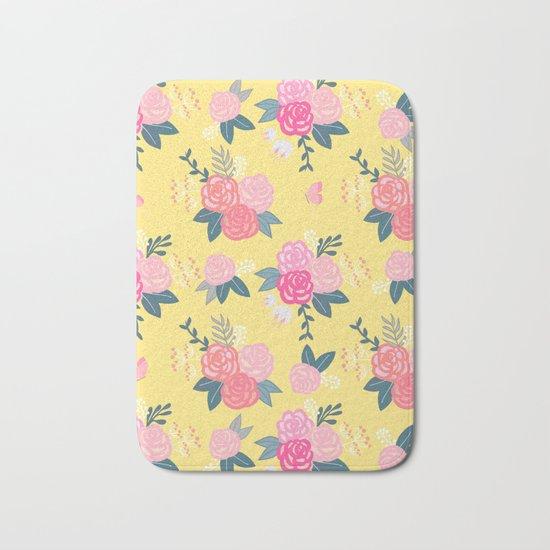 Sweet Roses on Yellow Bath Mat