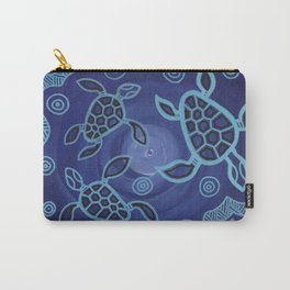 Authentic Aboriginal Art - 3 Sea Turtles Carry-All Pouch