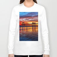calendars Long Sleeve T-shirts featuring Huntington Beach Sunset   12/2/13 by John Minar Fine Art Photography