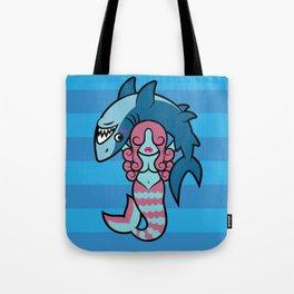 Shark Wrestler Mermaid Tote Bag