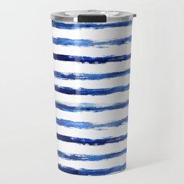 Blue grungy stripes Travel Mug