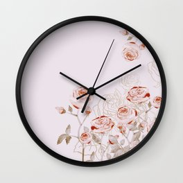 FRENCH PALE ROSES Wall Clock