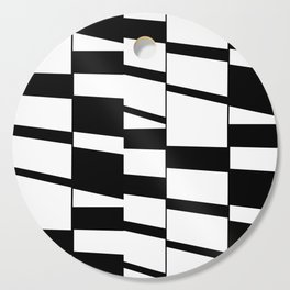 Slanting Rectangles - Black and White Graphic Art by Menega Sabidussi Cutting Board