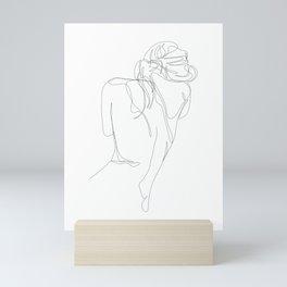 concealment - one line nude art Mini Art Print