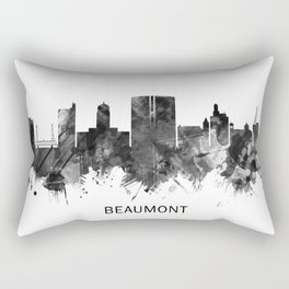 Beaumont Texas Skyline BW Rectangular Pillow