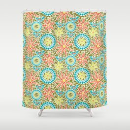 Birds and Flowers Mosaic - Green, orange, yellow Shower Curtain