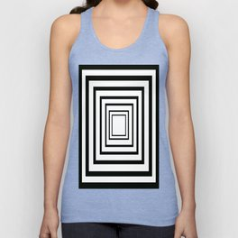 Concentric Squares Black and White Unisex Tank Top