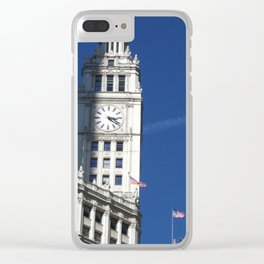 Chicago Clock Tower, American Flags Clear iPhone Case