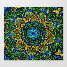 Lovely Healing Mandalas in Brilliant Colors: Hunter Green, Green, Navy, Light Blue, and Goldenrod Canvas Print