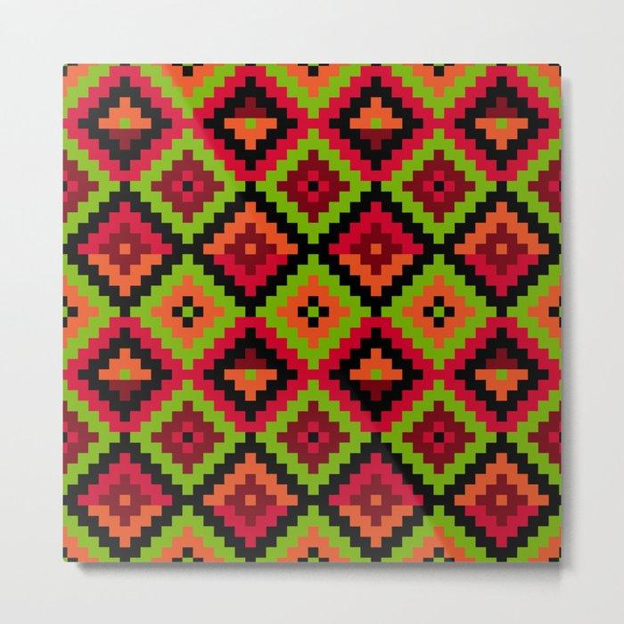Aztec pattern - green Metal Print