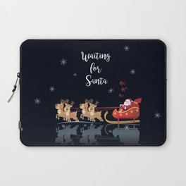 Waiting for Santa, Ho! Ho! Ho! We Wish You a Merry Christmas! Lettering. Winter Holiday Collection Laptop Sleeve