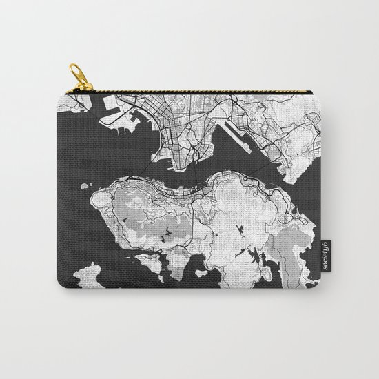 Hong Kong Map Gray Carry-All Pouch