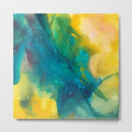 Summer Midday Yellow and Blue Watercolor Metal Print