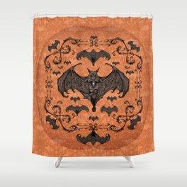 Bats and Filigree - Halloween Shower Curtain