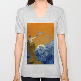 """Wings of Victory"" Art Deco Design Unisex V-Neck"