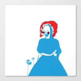 little red riding hood, blue, red, girl, fairy tale Canvas Print