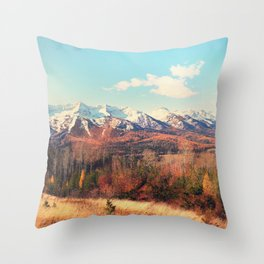 Ski Hill in Autumn Throw Pillow